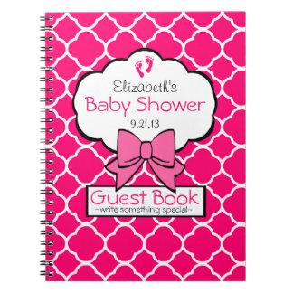 Quatrefoil Baby Shower Guest Book- Spiral Note Book