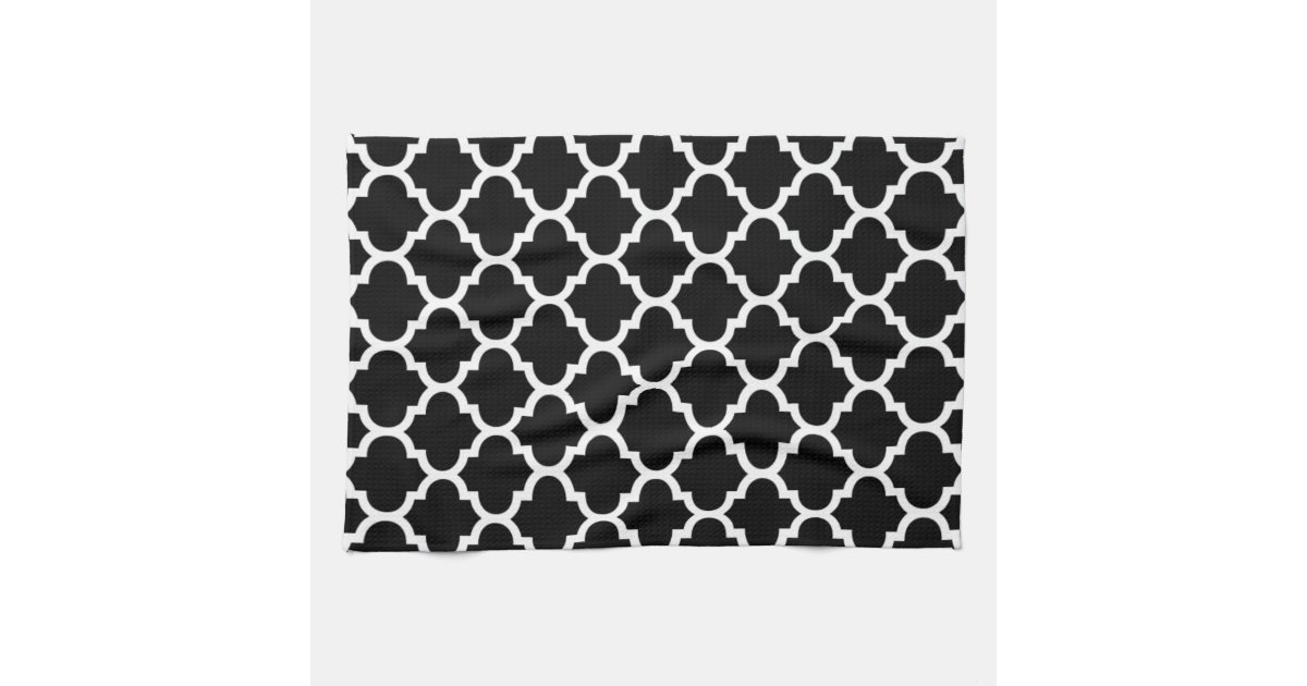 Quatrefoil Black And White Kitchen Towels Zazzle