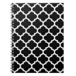 Quatrefoil Black and White Notepad Spiral Notebook