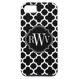 Quatrefoil Black and White Pattern Monogram iPhone 5 Cover