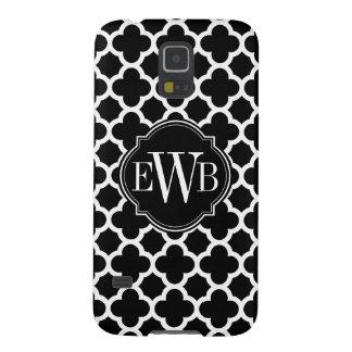 Quatrefoil Black and White Pattern Monogram Case For Galaxy S5