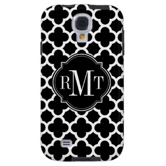 Quatrefoil Black and White Pattern Monogram Galaxy S4 Case