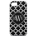 Quatrefoil Black and White Pattern Monogram iPhone SE/5/5s Case