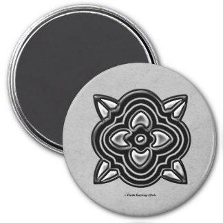 Quatrefoil Black on Silver 3 Inch Round Magnet