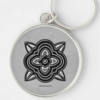 Quatrefoil Black on Silver Silver-Colored Round Keychain