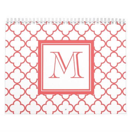 Quatrefoil blanco coralino el | su monograma calendario