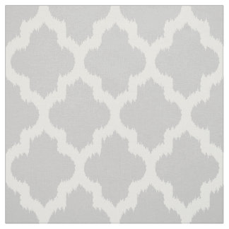Quatrefoil blanco Ikat y fondo gris de encargo Telas