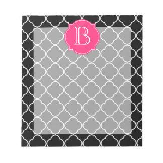 Quatrefoil blanco y negro con el monograma bloc