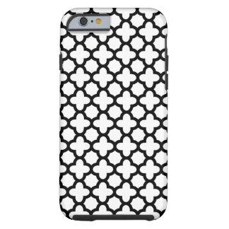 Quatrefoil blanco y negro funda de iPhone 6 tough