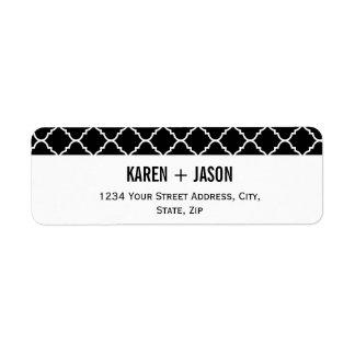 quatrefoil blanco y negro intrépido etiqueta de remitente