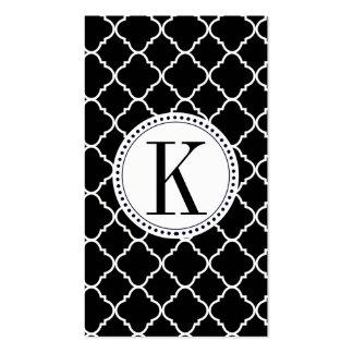 quatrefoil blanco y negro intrépido tarjetas de visita