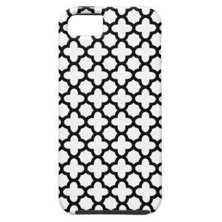 Quatrefoil blanco y negro iPhone 5 carcasa