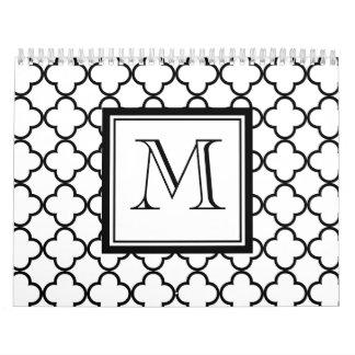 Quatrefoil blanco y negro, su monograma calendarios de pared