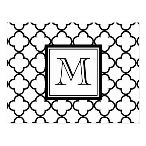 Quatrefoil blanco y negro, su monograma postal