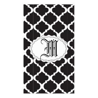 Quatrefoil blanco y negro tarjetas de visita