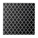 Quatrefoil blanco y negro tejas  cerámicas