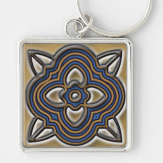 Quatrefoil Blue on Gold Silver-Colored Square Keychain