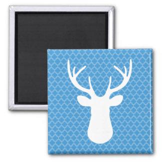 Quatrefoil Blue White Deer Head Buck Magnet