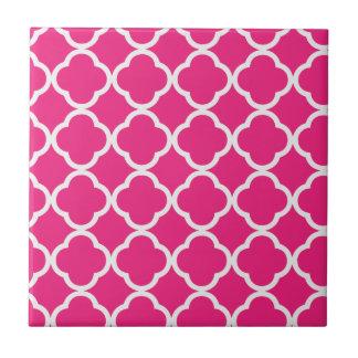 Quatrefoil Bright Pink Ceramic Tile