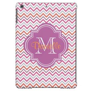 Quatrefoil Chevron Trendy Orchid Orange Grey Pink iPad Air Case