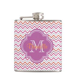 Quatrefoil Chevron Trendy Orchid Orange Grey Pink Hip Flasks