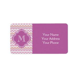 Quatrefoil Chevron Trendy Orchid Orange Grey Pink Labels