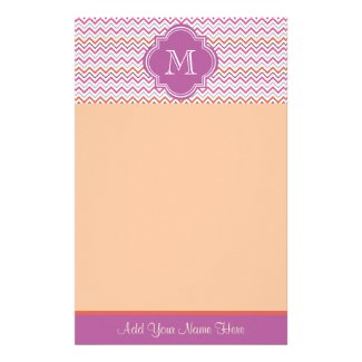 Quatrefoil Chevron Trendy Orchid Orange Grey Pink Customized Stationery