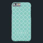 """Quatrefoil clover pattern blue teal 3 monogram barely there iPhone 6 case<br><div class=""""desc"""">Protect your iPhone with this fashionable and modern quatrefoil pattern phone case. Quatrefoil pattern resemble 4 leaf clover or four petals. the case with your monogram letters. Your initial letters are tastefully set within the clover pattern. Add style and personality--your gadgets should be as fabulous as you are!</div>"""