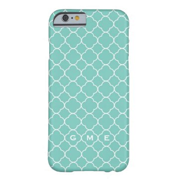 Quatrefoil clover pattern blue teal 3 monogram barely there iPhone 6 case at Zazzle