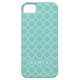 Quatrefoil clover pattern blue teal 3 monogram iPhone 5 cases