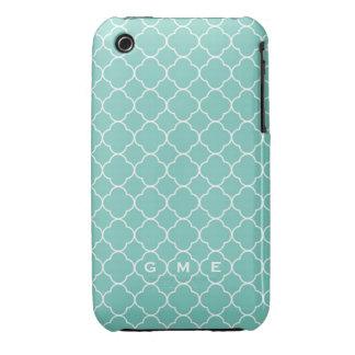 Quatrefoil clover pattern blue teal 3 monogram Case-Mate iPhone 3 cases