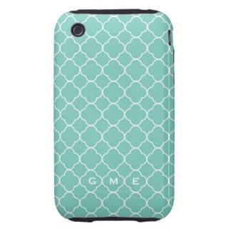 Quatrefoil clover pattern blue teal 3 monogram iPhone 3 tough cases