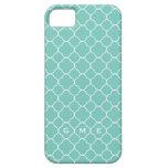 Quatrefoil clover pattern blue teal 3 monogram iPhone 5 cover