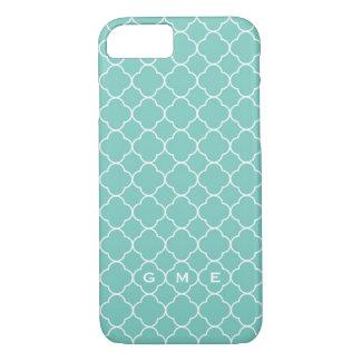 Quatrefoil clover pattern blue teal 3 monogram iPhone 7 case