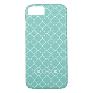 Quatrefoil clover pattern blue teal 3 monogram iPhone 8/7 case