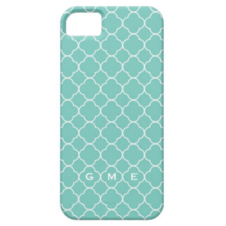 Quatrefoil clover pattern blue teal 3 monogram iPhone SE/5/5s case