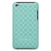 Quatrefoil clover pattern blue teal 3 monogram iPod touch cover