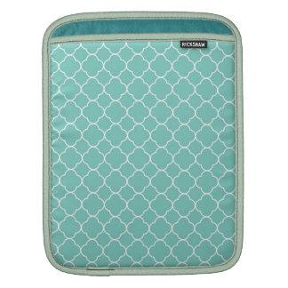 Quatrefoil clover pattern blue teal white fashion iPad sleeves