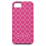 Quatrefoil clover pattern hot pink 3 monogram iPhone 5 cases