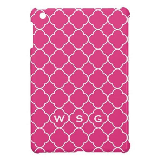 Quatrefoil clover pattern hot pink 3 monogram iPad mini cases