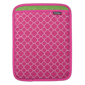 Quatrefoil clover pattern hot pink white fashion sleeves for iPads