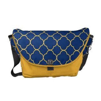 Quatrefoil clover pattern navy blue yellow fashion courier bag
