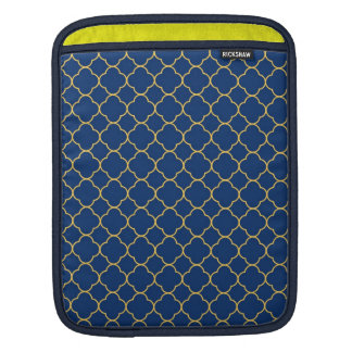 Quatrefoil clover pattern navy blue yellow fashion iPad sleeve