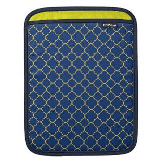 Quatrefoil clover pattern navy blue yellow fashion iPad sleeve