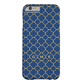 Quatrefoil clover pattern navy yellow 3 monogram barely there iPhone 6 case