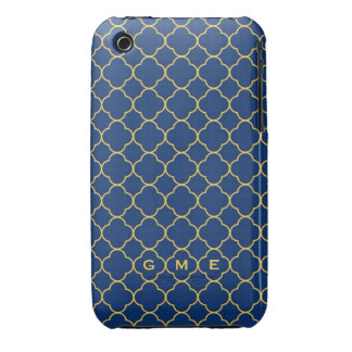 Quatrefoil clover pattern navy yellow 3 monogram iPhone 3 cases