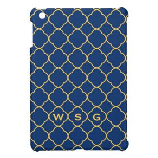 Quatrefoil clover pattern navy yellow 3 monogram iPad mini covers