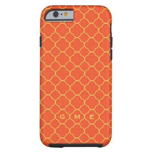 Quatrefoil clover pattern orange yellow 3 monogram iPhone 6 case