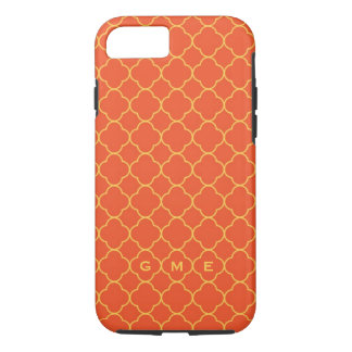 Quatrefoil clover pattern orange yellow 3 monogram iPhone 7 case