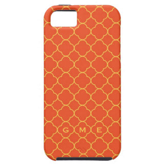 Quatrefoil clover pattern orange yellow 3 monogram iPhone SE/5/5s case